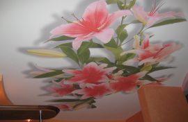 потолок фотопечать цветы фото